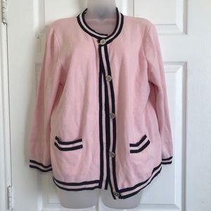 CHAPS pink cardigan striped sweater